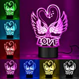 Swan 3D Night Lights, WU-MINGLU 7 Color Desk Table Lamps with Optical Illusion Acrylic Flat USB Chargeable for Valentine's Day