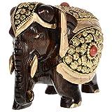 Kapasi Handicrafts Wooden Art Work Elephant / Hathi Featuring Brass Design ( 3 x 5 x 4 Inches)