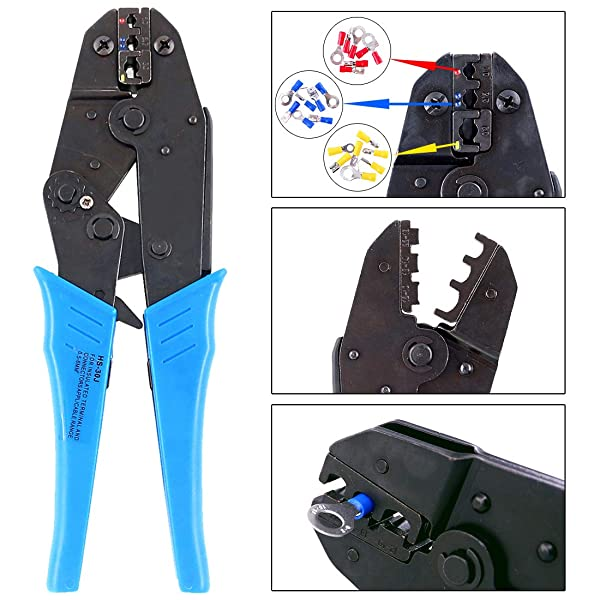 Hilitchi Professional Insulated Wire Terminals Connectors Ratcheting Crimper Tool for 22-10AWG (Color: Blue)