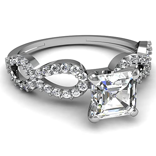 Asscher Cut Infinity Pave Diamond Engagement Ring in 14K White Gold