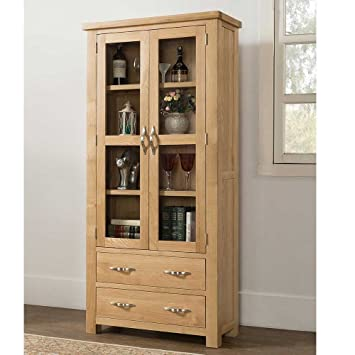 Valencia Oak Contemporary Large Display Cabinet, 2 Drawers 4 Shelves with Doors