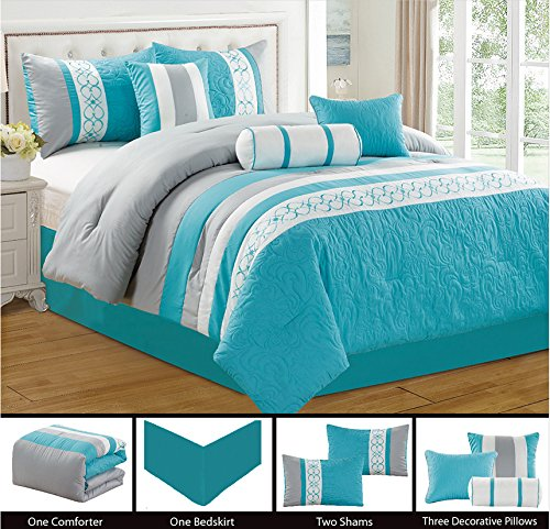 Modern 7 Piece Bedding Blue / Grey / White Emboidered and Quilted QUEEN Comforter Set with accent pillows