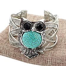 buy Time Pawnshop Retro Carving Turquoise Owl Adjustable Cuff Bracelet