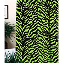 Lime Zebra Shower Curtain