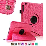 Fintie 360 Degree Rotating Stand Smart Cover Case with Automatic Sleep/Wake Feature for Apple iPad Mini 7.9 inch Tablet - Crocodile Hot Pink