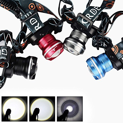 GRDE-Super-Bright-With-3-Modes-Head-Torch-1800-Lumens-Zoomable-LED-Headlamp-Comfortable-And-Lightweight-Headlights-For-Hunting-Fishing-Riding-Camping-Walking-the-Dog-Powered-By-3AA-Batteries-Not-Inclu