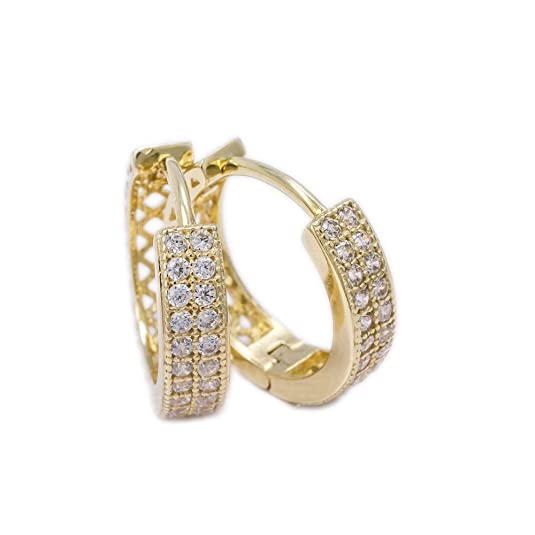 Ass 585 Gold Earrings Creole Earrings 13x3,5 mm Hoop Earrings with Zirconia