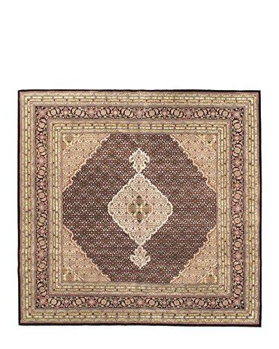Hand-Knotted Tabriz Haj Jalili Wool & Silk Rug, Brown, 7' 11 x 8' 1