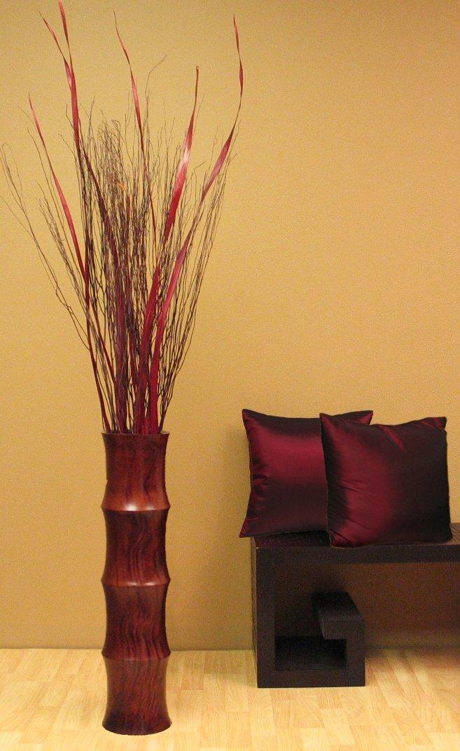 cherry or oak tall scalloped wood floor vase - Wooden Floor Vase