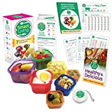 Smart Living 7 Piece Portion Control Containers Kit (COMPLETE GUIDE + FREE 21 DAY PDF PLANNER + RECIPE E-BOOK + BODY TAPE MEASURE included) Leak Proof Microwave and Dishwasher Safe