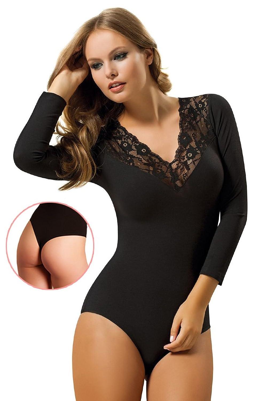 BALI Lingerie – Damen Langarm Body Stringbody mit V-Neck – Schwarz günstig