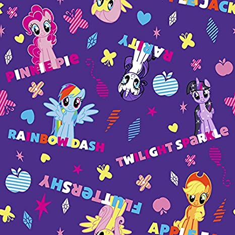 "Hasbro-My Little Pony 43/44"" Wide 100% Cotton D/R-Ponies & Names"