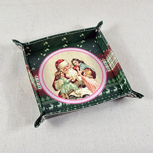 Decho Merry Christmas Santa Claus Design Pu Leather Tray front-763906