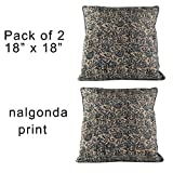 Pack of 2 Decorative Indian Hand Made Print Cotton Throw Pillow Covers - 18x18 - Nalgonda Print - Home Decor - Accent Pillows - Throw Pillows for Couch
