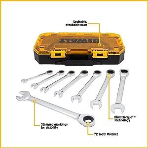DEWALT Combination Ratcheting Wrench Set, 8-Piece SAE (DWMT74733)