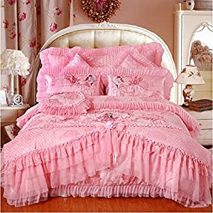 fadfay home textile korean bedding set beautiful pink lace ruffle bedding set luxury