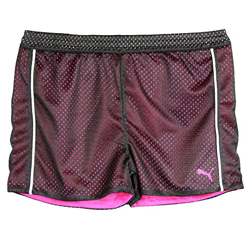 Puma Big-Girls Two-Tone Mesh Shorts Athletic Active Black Pink White Small