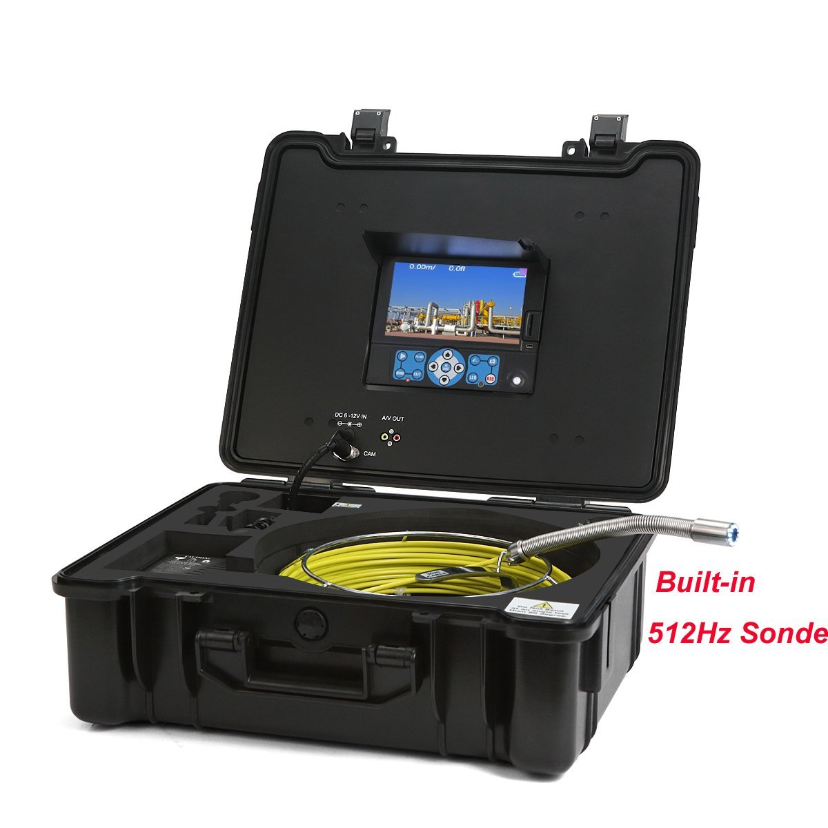 GooQee PIC003-L Drain Sewer Pipe Video Inspection System with 512Hz Sonde Sony CCD Color Camera length in 9.8 inch, 130ft Fiberglass Push Cable, 7 inch DVR, 8G SD Card (40m + Distance Counter + Sonde)