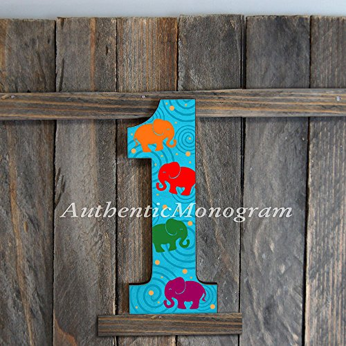 "Wooden Number ""1"" Decorated. Baby 1St Birthday, Birthday Party Decoration, Home Decor, Door Hanger, Monogram, Invitation 91511R* (12"") front-863666"