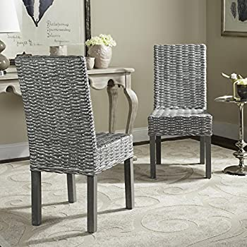 Safavieh FOX6525A-SET2 Home Collection Wheatley Wash Dining Chair, Set of 2, Grey/White