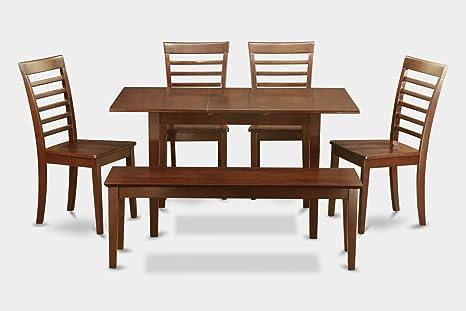 East West Furniture NOML6C-MAH-W 6-Piece Kitchen/Dinette Table Set