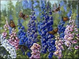 Butterlfy and Delphinium by Wanda Mumm Tile Mural for Kitchen Backsplash Bathroom Wall Tile Mural