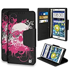buy Beyond Cell ®Infolio® For Zte Grand X Max Z787/ Grand X Max+ Z987 (Cricket,At&T,T-Mobile,Verizon)Premium Protection [Wallet Case] With Magnetic Flap Design Slim Luxury Pu Leather Flip Cover Built In Media Stand Cash Slot And Card Slots - Ghost Skull Desig