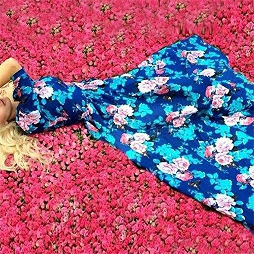 Cutecc Women Lady Long Sleeve Floral Party Cocktail Long Maxi Dress (M)