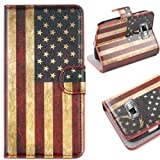 Semoss USA Flag Leather Case Cover With Stand Function/Credit Card Holder For Samsung Galaxy S2 Plus / S2 i9100 / S2 Plus i9105P