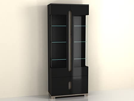 Lorenz High Gloss BLACK Display Cabinet with 2 Glass Doors (P980LS02) by furniturefactor