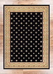 Noble Palace Black French European Formal Traditional Rug 3x10 ( 2\'7\