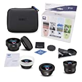 SIRUI Black 18mm Wide Angle, 10X Macro, 60mm Portrait, 170°FE Fisheye Mobile Phone Auxiliary Camera Attachment Lens with Lens Clip Adapter for iPhone, Pixel, Samsung Galaxy and most Camera Phones (Color: Kit, Tamaño: Wide Angle, Fisheye, Macro, Portrait)