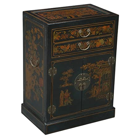 EXP Handmade Oriental Furniture 30-Inch Antique Style Black Leather Wine Cabinet/Bar