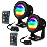 LUNSY Aquarium light, submersible led lights, waterproof IP67 Multicolored RGBW Underwater lights, Aquarium spotlights for Fish Tank Pond Swimming Pool Fountain with Remote Control (2pack) (Color: Aquarium lights)