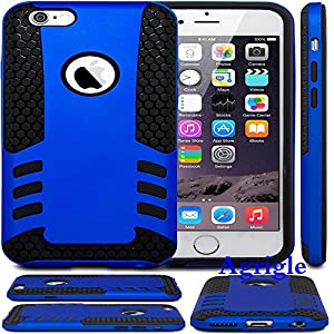 iPhone 6 Case, iPhone 6 (4.7'') Case,Agrigle Brand High Quality Ultra Slim Hard Plastic with Soft Silicon Hybrid Dual Layer Shockproof Armor Defender Protective Case Cover for Apple iPhone 6 4.7 Inch (Dark Blue)