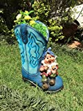 Garden Pots Blue Boots Planter with Dwarf with Flower(Garden Decor, Garden Planters, Gift Items)