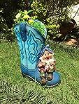 Wonderland Garden Pots Blue Boots Planter with Dwarf with Flower