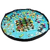 おもちゃ収納バッグ HOMECUBE 直径150cm 子どもプレイマット ブロック片付け レゴ 収納 ドローストリングバッグ 片付けマット 防水シート (水色)