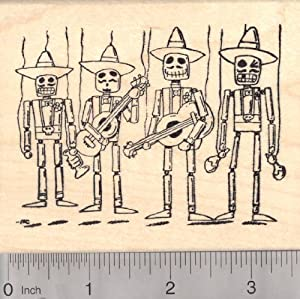 Day of the Dead Mexican Mariachi Band Rubber Stamp, Marionettes Día de los Muertos