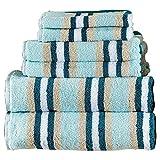 6 Piece Luxury Bath Towel Set with Striped Designs on Clearance Bulk, 100% Cotton, Sea Foam