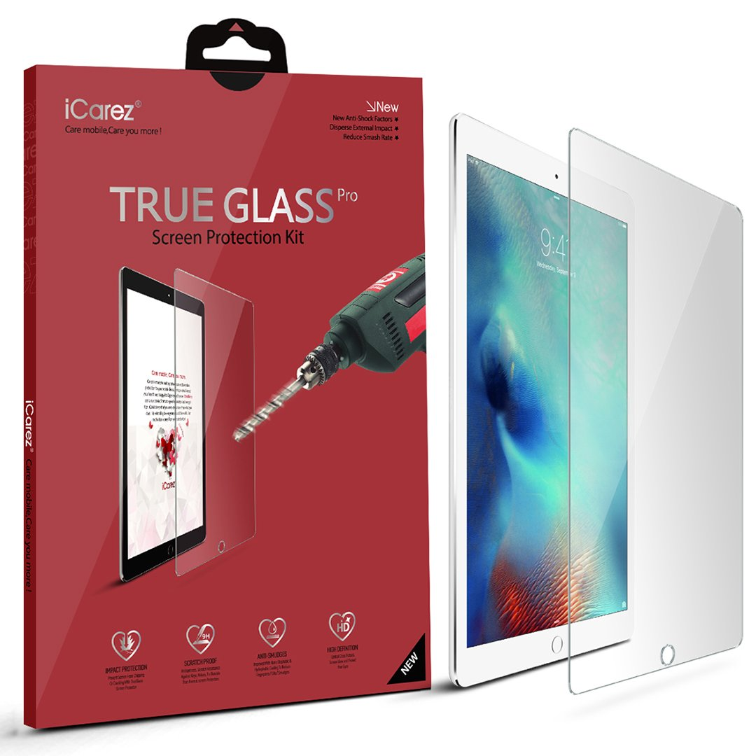 "Apple 12.9"" iPad Pro Screen Protector, iCarez® (Tempered Glass) Highest Quality Premium Easy Install With Lifetime Replacement Warranty - Retail Packaging 2015"
