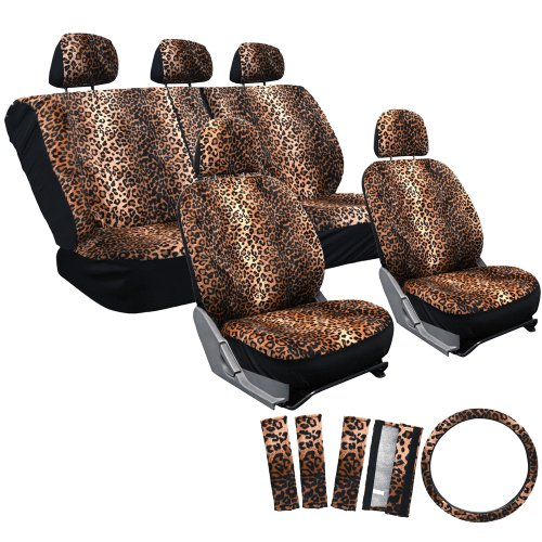 OxGord 17pc Leopard Seat Cover Set for the Hyundai Sonata Sedan in Original Leopard Print (Brown Leopard Seat Covers compare prices)