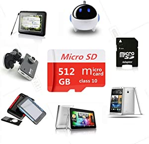 TRYEDS 512GB Micro Memory Card Micro SD Card Class 10 with Free SD Adapter