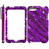 Zebra Bling Rhinestone Diamond Snap-On Hard Skin Case Cover for Apple Ipod Touch iTouch 2nd and 3rd Generation, 2 / 3 / 2G / 3G - Purple