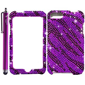 The Friendly Swede (TM) Black / Purple Zebra Bling Rhinestone Diamond Snap-On Hard Skin Case Cover for Apple Ipod Touch iTouch 2nd and 3rd Generation, 2 / 3 / 2G / 3G - Branded Stylus and Retail Packaging
