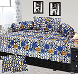 Furnishing Zone 200 TC Cotton 8 Piece Single Diwan Set - Floral, Multicolour