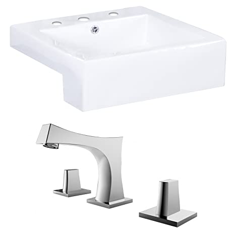 "American Imaginations AI-15243 Rectangle Vessel Set with CUPC Faucet, 20"" x 20"", White"