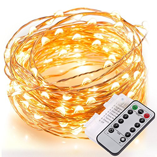 33ft-Fairy-String-Lights-132-LEDs-Copper-Wire-Lights-Remote-Control-And-TimingFlexible-Starry-LightsWarm-White-Starry-String-Lights-for-Wedding-Party-Event-Floral-Applications