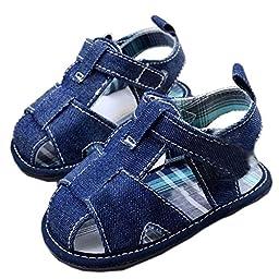 Mjun? Baby Boys Girl\'s Cowboy Sandal Soft Sole Summer Prewalker Denim Sandals ( 6-12 months, nevy blue)