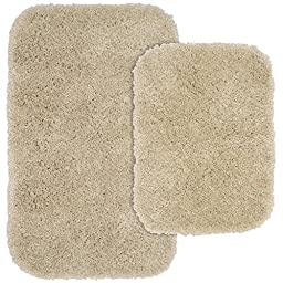 Garland Rug 2-Piece Serendipity Shaggy Washable Nylon Bathroom Rug Set, Linen